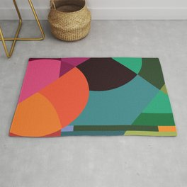 Pink Sunsets Geometric Abstract - Bybrije Rug