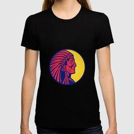 Old Native American Chief Headdress Circle T-shirt