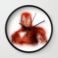 ironman Wall Clocks featuring Ironman by KitschyPopShop
