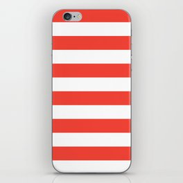 Even Horizontal Stripes, Red and White, L iPhone Skin
