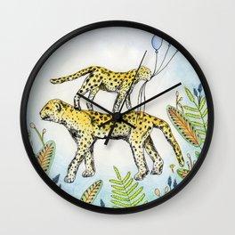 Jaguar illustration baloon party jungle nature Wall Clock