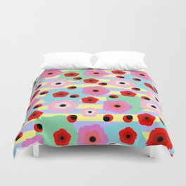 Poppies and stripes Duvet Cover