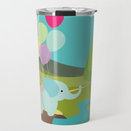 Elephant & Balloons, nursery decor , Travel Mug