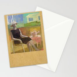 Woman in her Garden Stationery Cards
