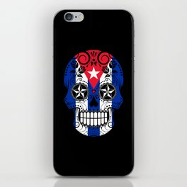 Sugar Skull with Roses and Flag of Cuba iPhone Skin