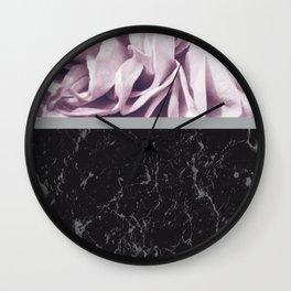 Light Purple Flower Meets Gray Black Marble #1 #decor #art #society6 Wall Clock