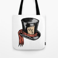 mad hatter Tote Bags featuring Mad Hatter by Countmoopula