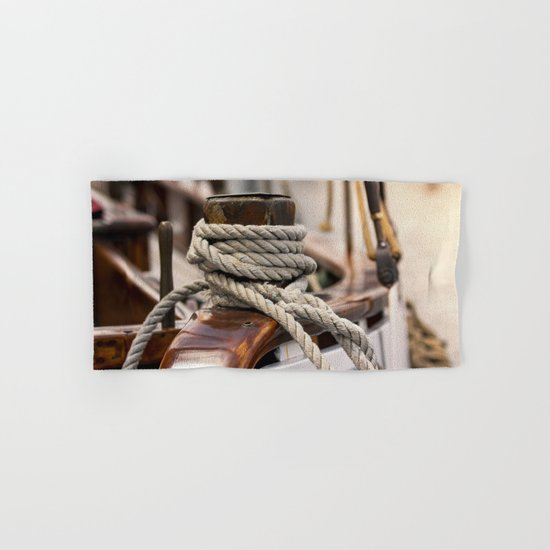 linen rope from the old ship Hand & Bath Towel