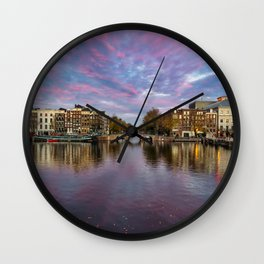 Sunset at the Amstel in Amsterdam  Wall Clock