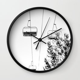 Ski Lift // Black and White Daylight Chairlift Mountain Photograph Wall Clock