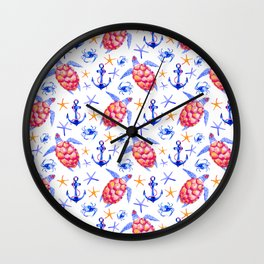 Pink violet watercolor hand painted nautical anchor turtles pattern Wall Clock