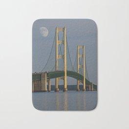 Moon and the Mackinac Bridge by the Straits of Mackinac Bath Mat