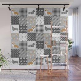 Corgi Patchwork Print - grey, dog, buffalo plaid, plaid, mens corgi dog Wall Mural