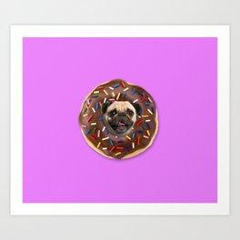 Pug Chocolate Donut Art Print
