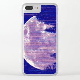 Full moon and stars - stripes Clear iPhone Case