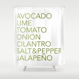 Guacamole Recipe Typography Shower Curtain