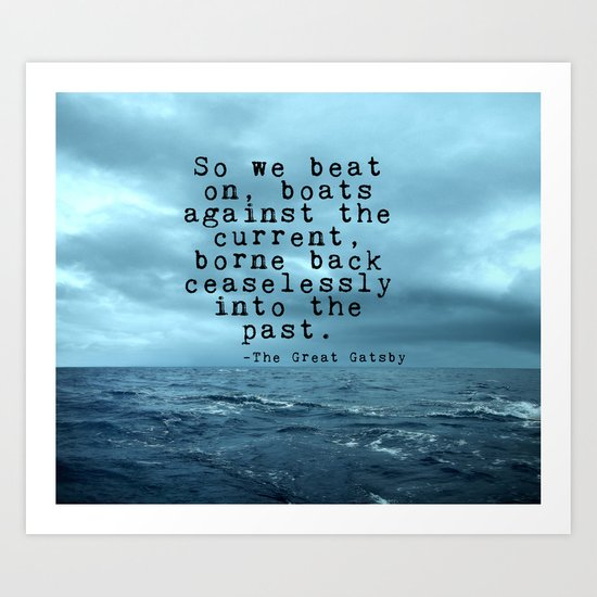 So we beat on - Gatsby quote on the dark ocean Art Print
