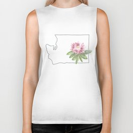 washington // watercolor rhododendron state flower map Biker Tank