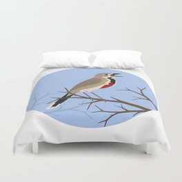Rosy-patched Bush-shrike Duvet Cover