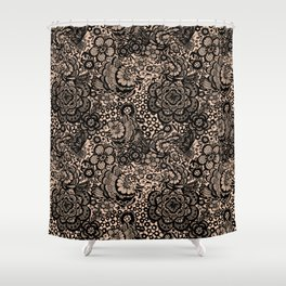 Bronze Nude With Black Lace Shower Curtain