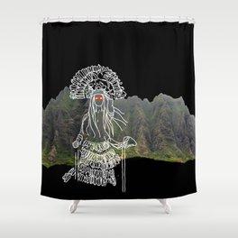 rocky mountain woman Shower Curtain