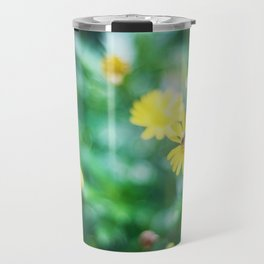 A Busy Bee on Yellow Flower Travel Mug