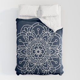 Navy Blue and White Flower Mandala Comforters