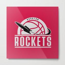 Rockets custom vintage basketball red logo Metal Print