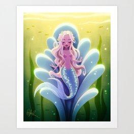 Mermaid in a Clamshell Throne Art Print