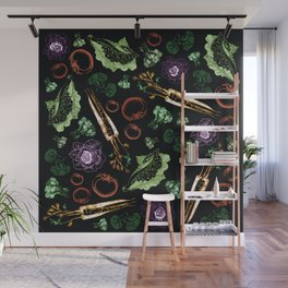 Garden Veggies Bright on Black Wall Mural
