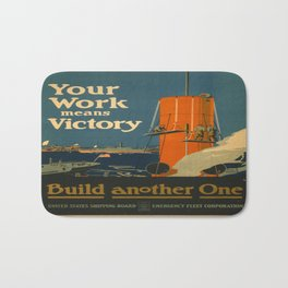 Vintage poster - Your Work Means Victory Bath Mat