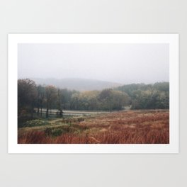 Wisconsin Fall Colors and Foggy Valley Art Print