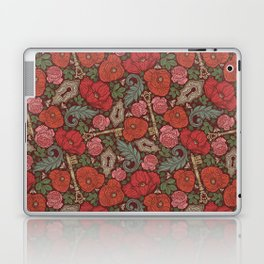 Red poppies and roses with golden keys on dark background Laptop & iPad Skin