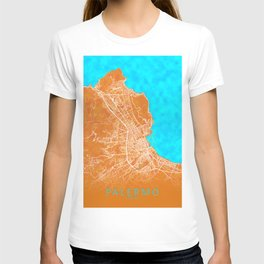 Palermo, Italy, Gold, Blue, City, Map T-shirt