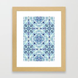 Navy Blue, Green & Cream Detailed Lace Doodle Pattern Framed Art Print