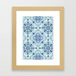 Navy Blue, Green & Cream Detailed Lace Doodle Pattern Framed Art Print