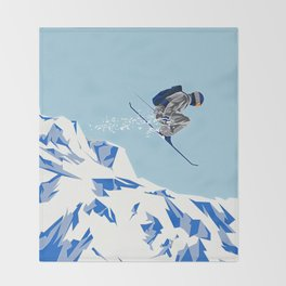 Airborn Skier Flying Down the Ski Slopes Throw Blanket