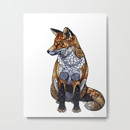 Stained Glass Fox Metal Print
