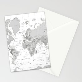 World Map [Black and White] Stationery Cards