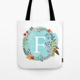 Personalized Monogram Initial Letter F Blue Watercolor Flower Wreath Artwork Tote Bag