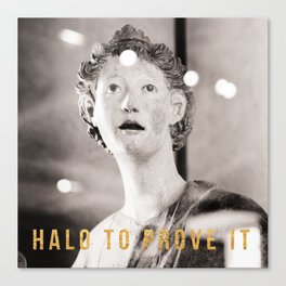 Halo To Prove It Travel Photography In The Louvre With Snark in Gold Foil Typography Canvas Print