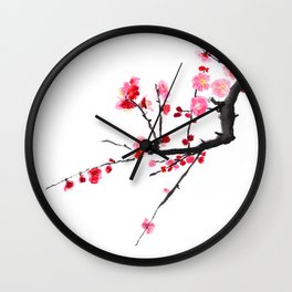 red plum flower Wall Clock