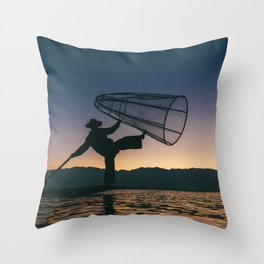 Burmese Fisherman Throw Pillow