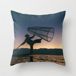 Burmese Fisherman Throw Pillow