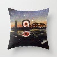boardwalk empire Throw Pillows featuring Boardwalk by Leon T. Arrieta