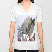 palm V-neck T-shirts featuring palm by Renee-David