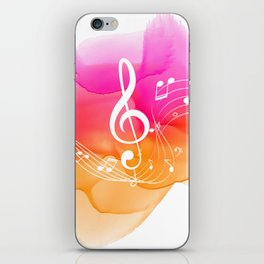 Watercolor, Musical Notes, watercolor t-shirt, watercolor sticker iPhone Skin