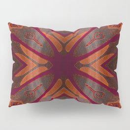 Deep Mahogany Ombre Neo Tribal Embroidery Texture Pillow Sham