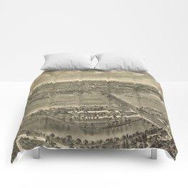 Vintage Pictorial Map of Trenton NJ (1900) Comforters