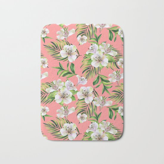 White flowers on a pink background Bath Mat